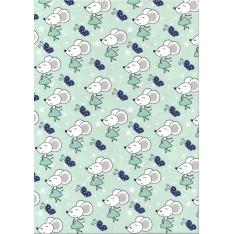 Jersey Coton Elasthanne motif souris et papillons bleus nuit à pois blancs sur fond turquoise avec étoiles blanches