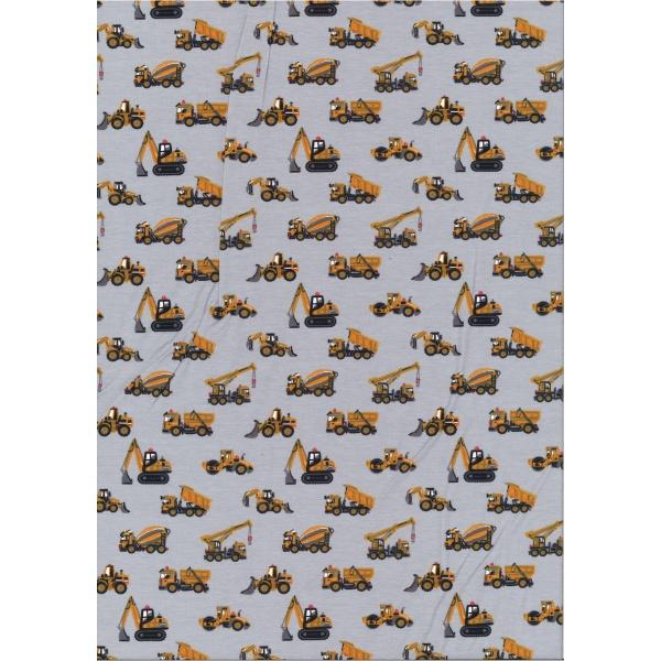 Jersey Coton Elasthanne motif camion moutarde Fond gris clair