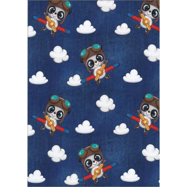 Jersey Coton Elasthanne digital motif enfantin avec nuages bleus Fond bleu nuit