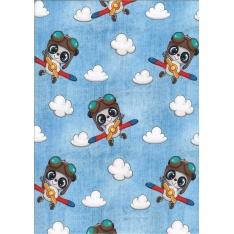 Jersey Coton Elasthanne digital motif enfantin avec nuages bleus Fond bleu ciel
