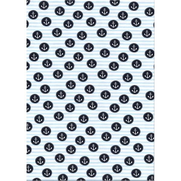 Jersey Coton Elasthanne motif ancre pirate Fond rayé blanc et bleu ciel