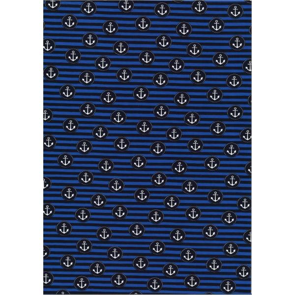 Jersey Coton Elasthanne motif ancre pirate Fond rayé noir et bleu électrique