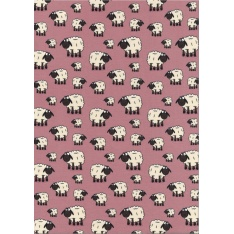 Jersey Coton Elasthanne motif moutons blancs Fond rose