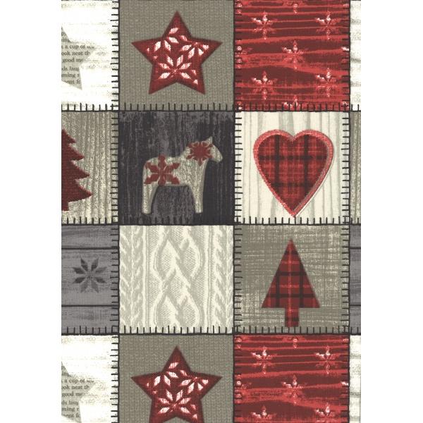 Coton Enduit Impression Patchwork Noel Ton Rouge