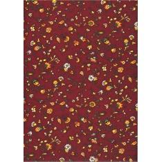 Coton Enduit Impression Fleurs des Champs Rouge