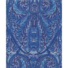 Coton Enduit Impression Cachemire Bleu