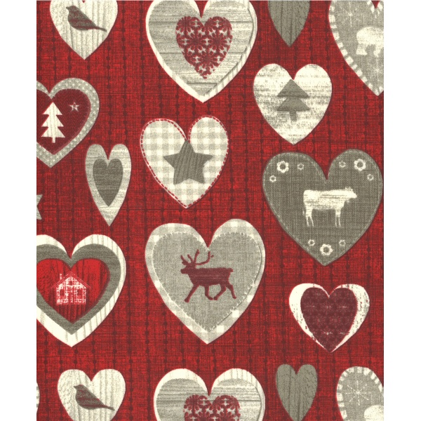 Coton Enduit Impression Meaudres Rouge