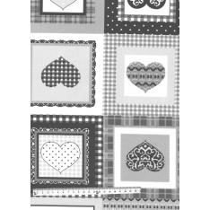 Coton Enduit Impression Damier de Coeur Ton Gris