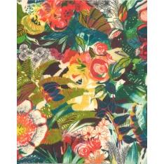 Coton demi natté imprimé digital motif Fleurs Exotiques Multicolores