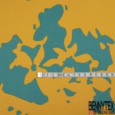 Satin Polyester Imprimé Bleu Sarcelle Jaune