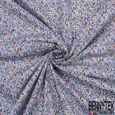 Popeline Coton Imprimé fleurs fantaisie Ton marine Fond blanc