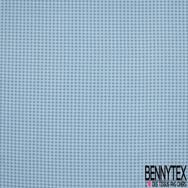 Popeline Coton Imprimé fleurs naïves marine blanc Fond azur clair