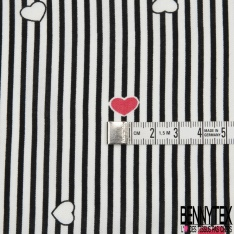 Fibranne Viscose imprimé rayures noirs coeurs roses Fond blanc