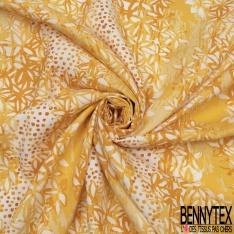 Fibranne Viscose imprimé florale jaune fantaisie Fond blanc