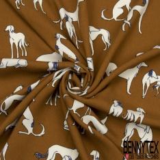 Crêpe Viscose Imprimé Motif chiens naïfs Fond alezan