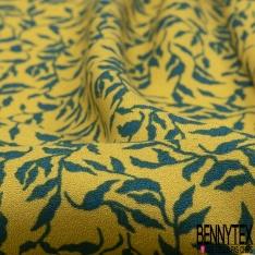 Crêpe Viscose Imprimé Motif floral vert bouteille Fond jaune d'or