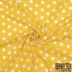 Voile Viscose Motif pois blancs Fond jaune