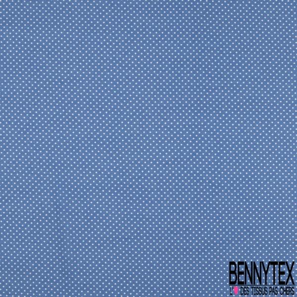 Voile Viscose Motif petits pois blancs Fond bleu