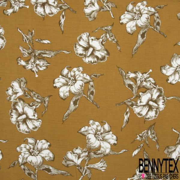 Lin Viscose Imprimé floral Fond venitien