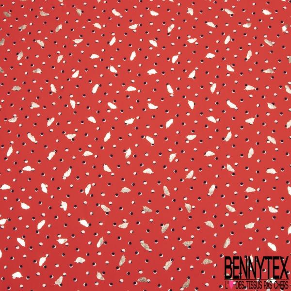 Microfibre Imprimé pois et plumes or Fond rouge corail