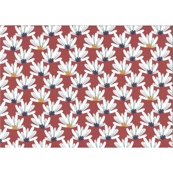 coton imprimé motif grosses fleurs blanches avec pistil moutarde et violet Fond Terracotta