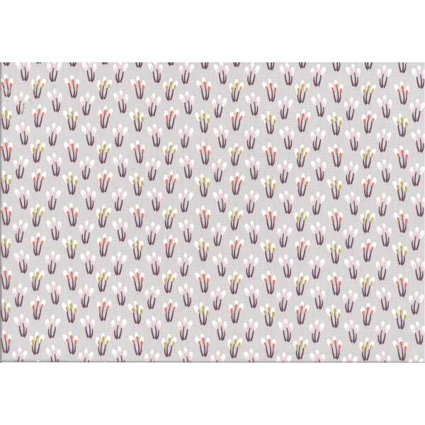 coton imprimé motif petite plante violette rose corail moutarde et blanche violet Fond gris