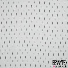 Fibrane viscose imprimé petite feuille noir Fond gris perlé