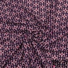 Fibrane viscose imprimé Motif géométriques rouge et rose Fond marine