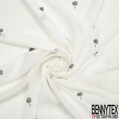 Fibrane viscose imprimé Motifs petits arbres noirs Fond blanc