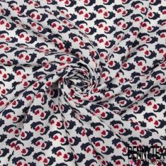 Fibrane viscose imprimé Motifs naifs marines et coeurs rouge Fond blanc