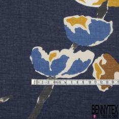 Voile de Coton fleur naives ton taupe Fond marine