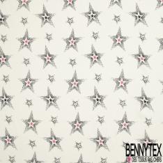 Fibrane viscose imprimé étoile fantaisie noir Fond blanc