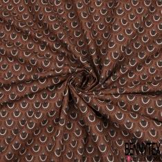 Crétonne 100% coton Impression Motif plume de paon Fond choco