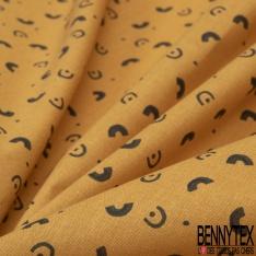 Crétonne 100% coton Impression Motif petits ponts originaux Fond moutarde