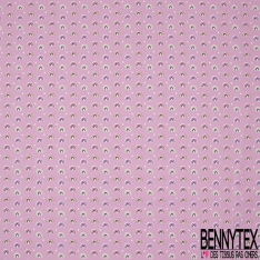 Crétonne 100% coton Impression Motif petits arcs multicolores Fond rose