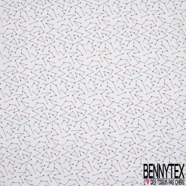 Crétonne 100% coton Impression Motif tracés géométriques Fond blanc