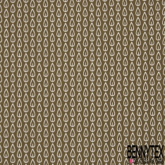 Crétonne 100% coton Impression Motif feuilles blanches Fond kaki