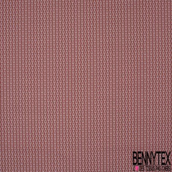 Crétonne 100% coton Impression Motif feuilles blanches Fond marsala