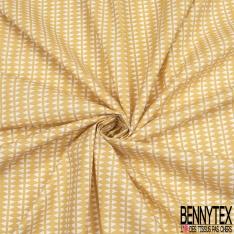 Crétonne 100% coton Impression Motif alignement de triangles dos à dos Fond jaune