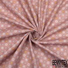 Crétonne 100% coton Impression Motif fleurs naïves Fond rose