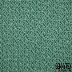 Crétonne 100% coton Impression Motif feuilles naïves Fond vert