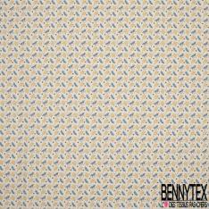 Crétonne 100% coton Impression Motif feuillage fantaisie Fond blanc