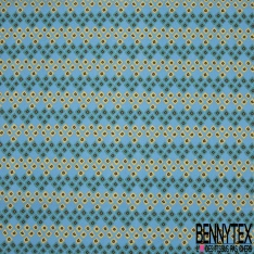 Crétonne 100% coton Impression Motif losanges fantaisistes Fond bleu