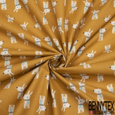 Crétonne 100% coton Impression Motif chiots enfantins Fond moutarde