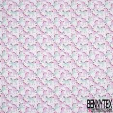Crétonne 100% coton Impression Motif licornes enfantines bleues et roses Fond blanc