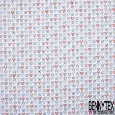 Crétonne 100% coton Impression Motif formes fantaisistes gris orange bleu Fond blanc