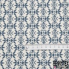 Crétonne 100% coton Impression Motifs abstraits bleus Fond blanc