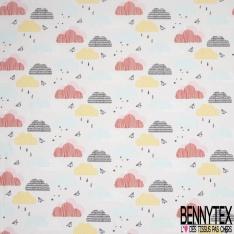 Crétonne 100% coton Impression Motif nuages multicolores pluie Fond gris