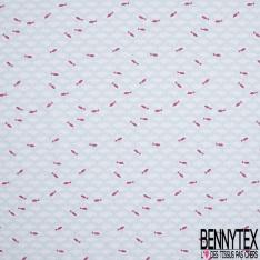 Crétonne 100% coton Impression Motif poissons dans l'eau Fond blanc