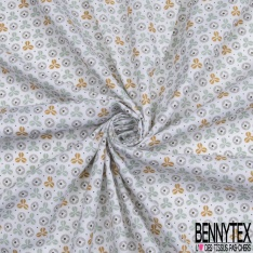 Crétonne 100% coton Impression Motif formes fantaisistes gris orange vert Fond blanc